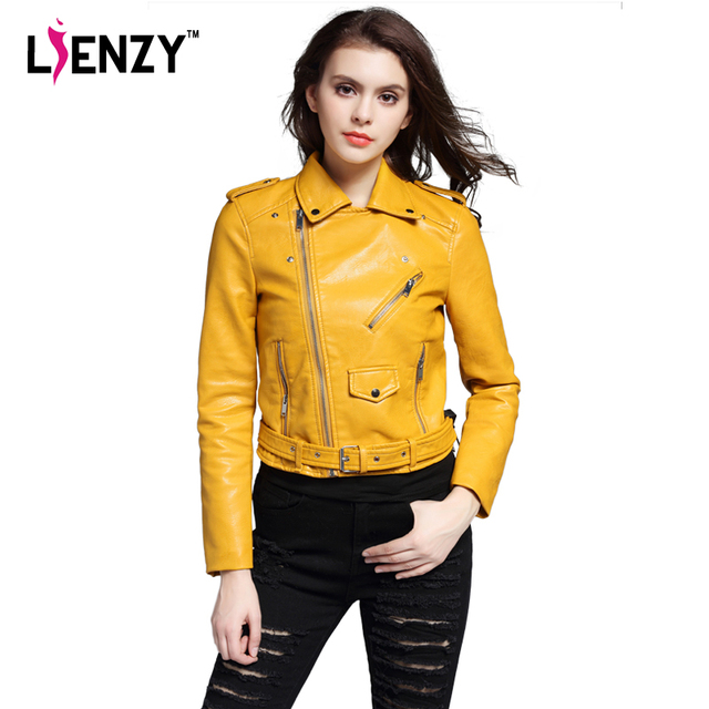 LIENZY ZA Autumn Winter Women PU Leather Jacket Long Sleeve EPAULET Turn-Down Collar Yellow Short Women Jacket Coat For Winter