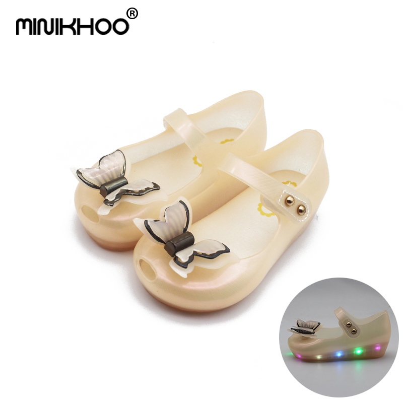 Mini Melissa LED Flash Lights Girl Sandals 2018 New LED Sandals For Girl Shoes 3D Butterfly Melissa Princess Shoes Jelly Shoes