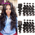 Indian Virgin Hair With Closure Body Wave With Closure 4Bundles With Closure Lace Closure With Bundles Sew In Weave Natural Wave