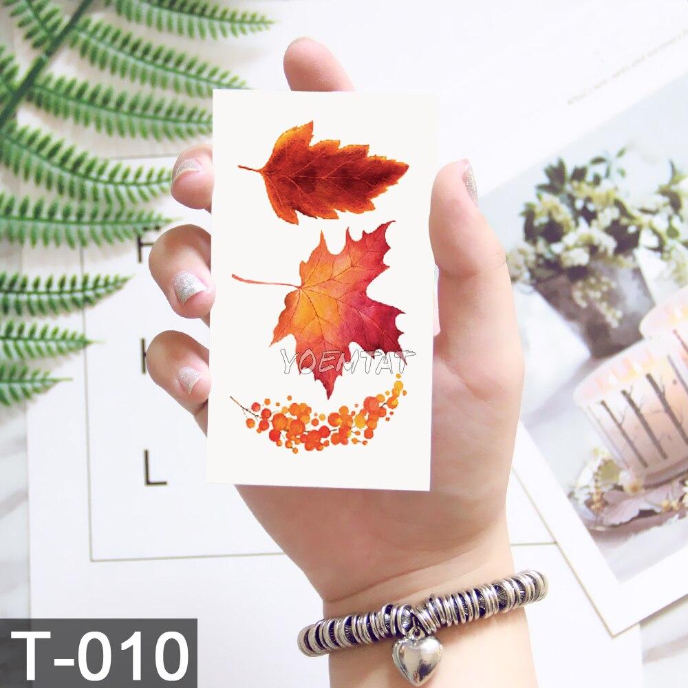 Waterproof Temporary 3d Tattoos Sticker On Body Art Color Leaf Maple Leaves Flower Tattoo Fake Glitter Tattoo Flash Women Tattoo
