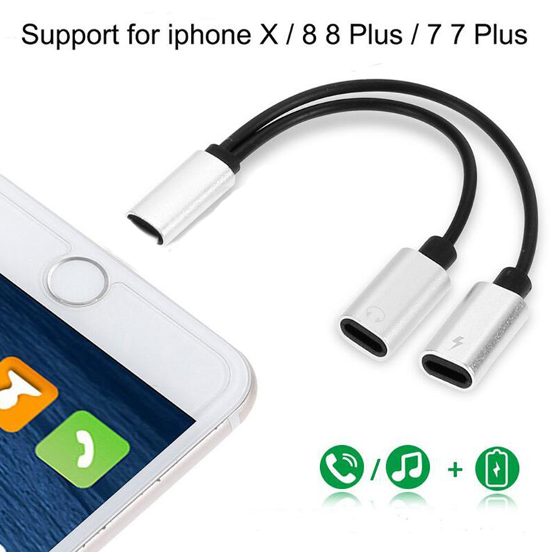 Mini 2 In 1 Dual Jack Adapter Audio Charging Splitter Cable For IPhone X 8 7 Plus Headphones Converter For IOS 10.3/11 Version