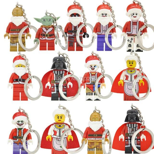 single sale christmas keychain santa claus darth vader yoda joker harley quinn c3po deadpool building blocks