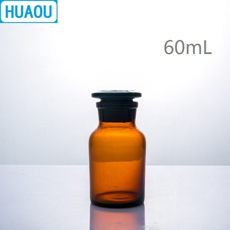 HUAOU 60mL Wide Mouth Reagent Bottle Brown Amber Glass With Ground In Glass Stopper Laboratory Chemistry Equipment