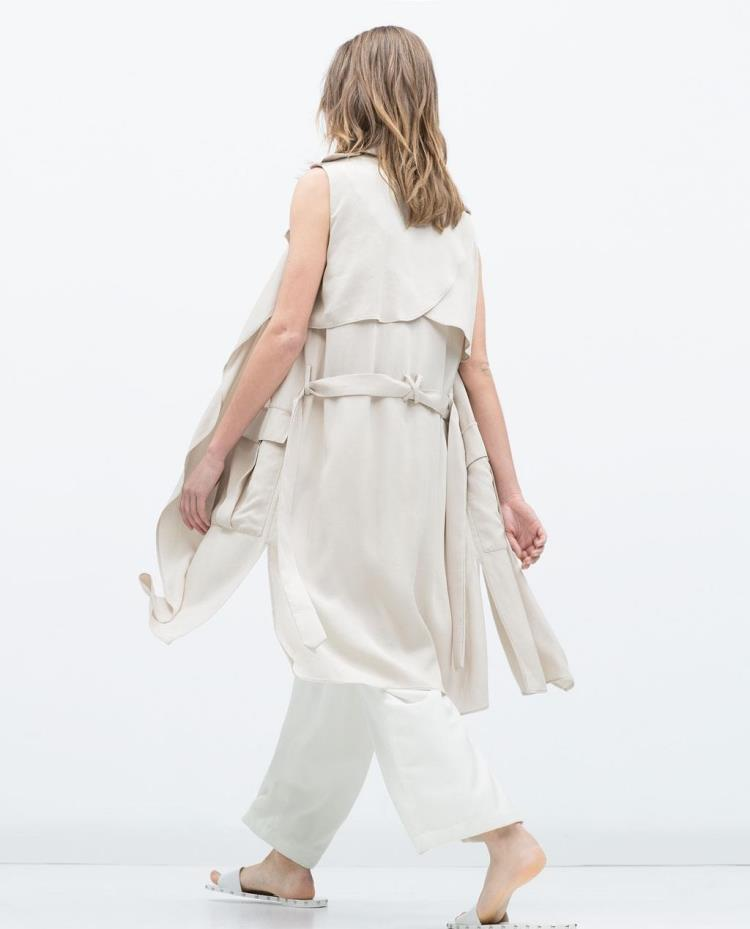 9dfe1921004d4 US $39.21 15% OFF|ZR Original 2015 Summer Trf New Fashion Women Long  Waistcoat Trench Lapel collar Sleeveless vest Belted big pockets-in Vests &  ...