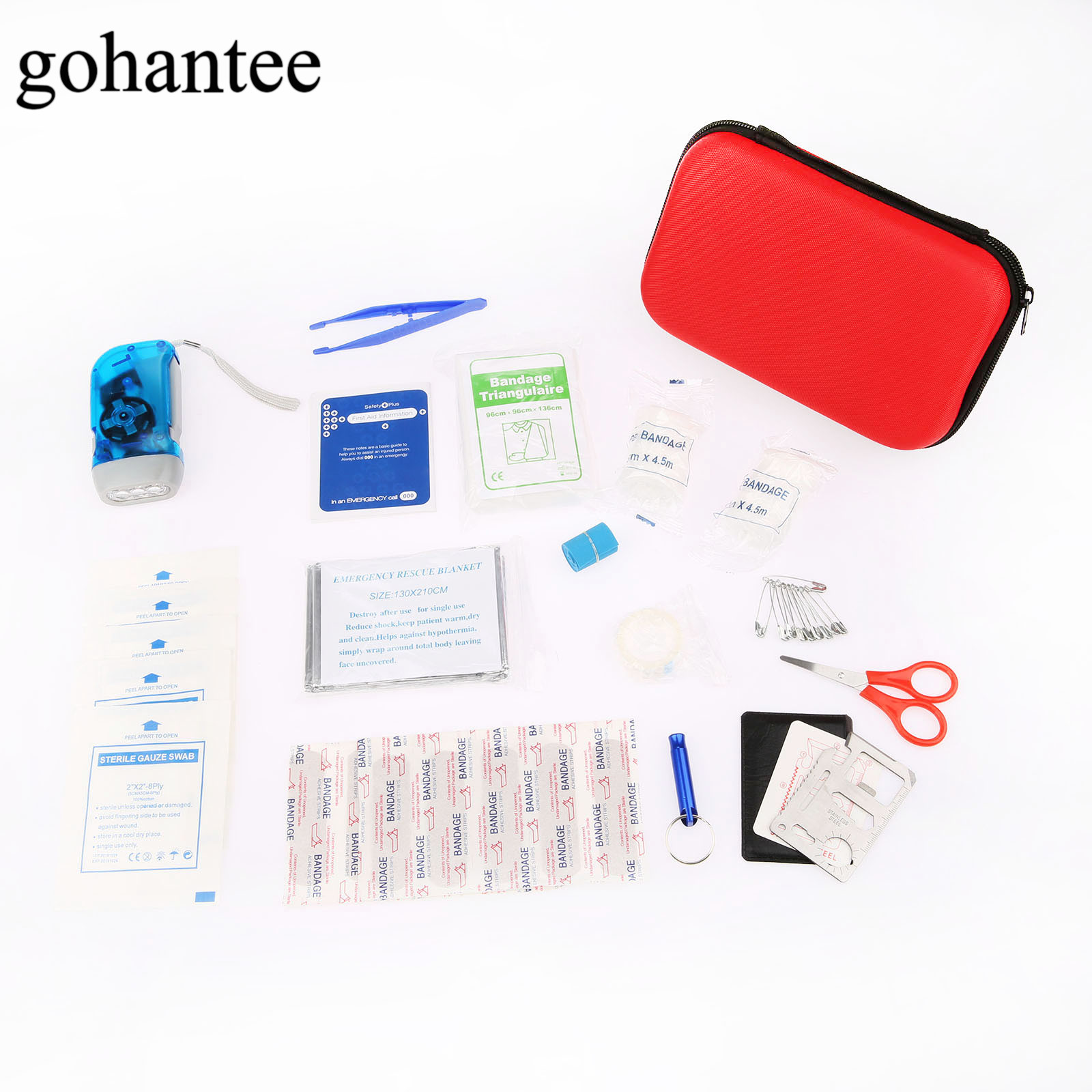 39pcs/Pack (16kinds) Camping Hiking Car First Aid Kit Medical Emergency Kit Treatment Pack Outdoor Wilderness Survival EVA Bag