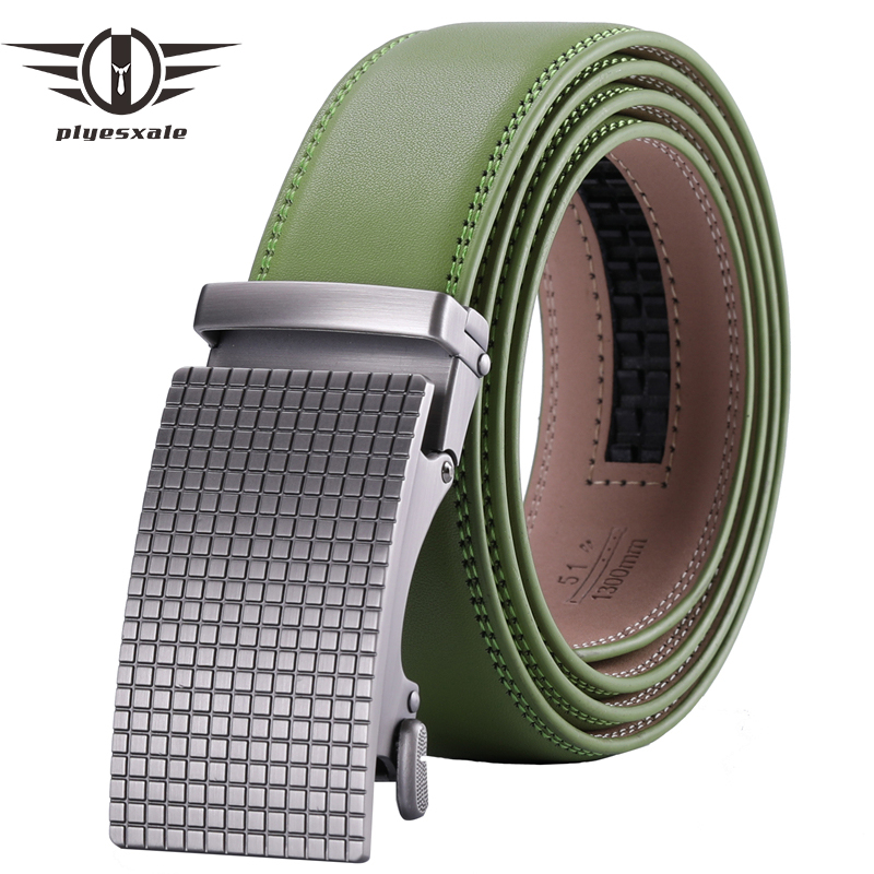 Plyesxale Grass Green Men Belt 2019 Brand Mens Genuine Leather Belts With Automatic Buckle Brown Formal Cinto Masculino B65