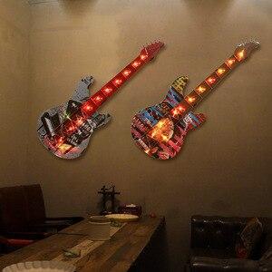 Креативная Светодиодная лампа Украшение Аксессуары для гитары бар украшения для стен ресторана висит изображение металлический подвесной...