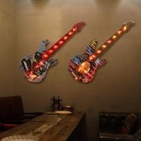 Creative LED Lamp Adornment Guitar Accessories Bar Restaurant Wall Decoration Hangs Picture Metal Crafts Pendant Light Wholesale