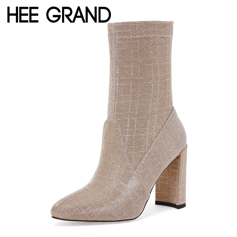 HEE GRAND Sexy Women Ankle Boots 2017 Winter Super High Heels Boots Ladies Fashion Pointed toe Shoes Woman Size 35-43 XWX6247