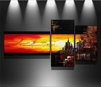 100% pintado a Mano Moderno Arte de La Pared Abstracta Pintura Al Óleo Sobre Lienzo de Pared Imagen de Arte de La Ciudad 3 unidades Salón decoración