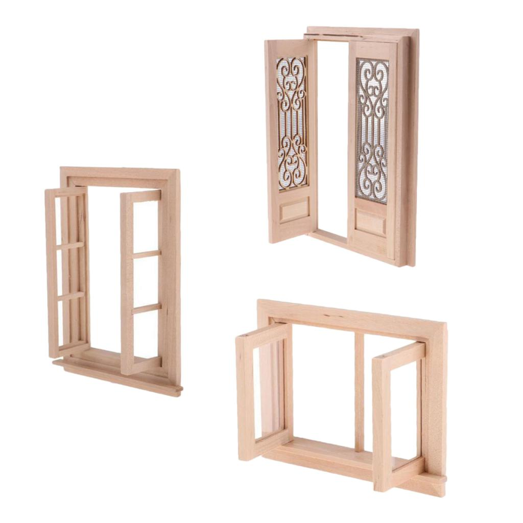 3 Pieces Unpainted Miniature Wooden Door Window 1/12 Dollhouse DIY Decor Accessory