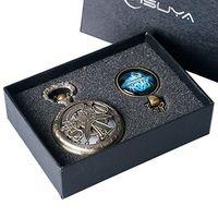 Steampunk Sword Art Online Design Anime Vintage Hollow Bronze Quartz Pocket Watch Pendant Necklace Chain Fob