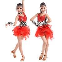 Printed Latin Dance Dress Girls Children Salsa Tango Ballroom Dancing Dress Leopard Skate Costumes Kids Practice Dance Clothing