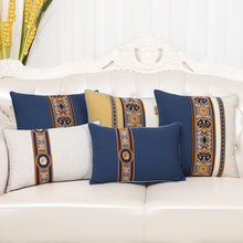 Chinese Patchwork Lace Linen Cotton Cushion Cover Vintage Sofa Chair Car  Lumbar Pillow Classic Case Christmas