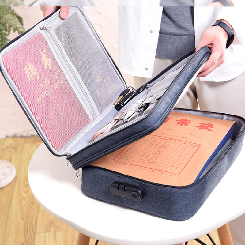 Handheld Anti-theft Document Bag Men's Briefcases Data Line Electronic Notebook Case Business Handbag Travel Accessories Supplie