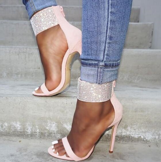 Rome Style Summer New Sexy Women Beige Pink Color Glitter Crystal Open Toe Zipper Back Thin Heels Party Sandals Dress Shoes Lady spaghetti strap chiffon open back dress