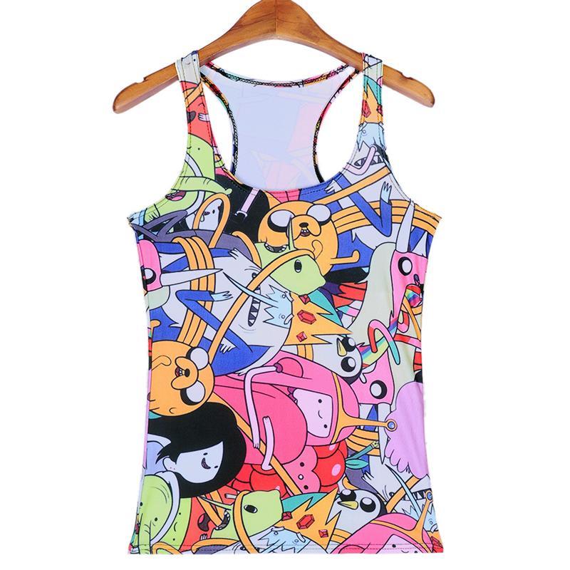 Señora Cartoon deportes Camisetas de tirantes mujeres sexy sleeveless T  Shirt ropa nueva elástico Yoga Chalecos de correr camiseta anime impresión  digital 01679d4844b2