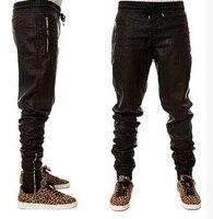 European American Style Men S Leather Pants Famous Luxury Brand Cross Pants Zipper Punk Black Hip