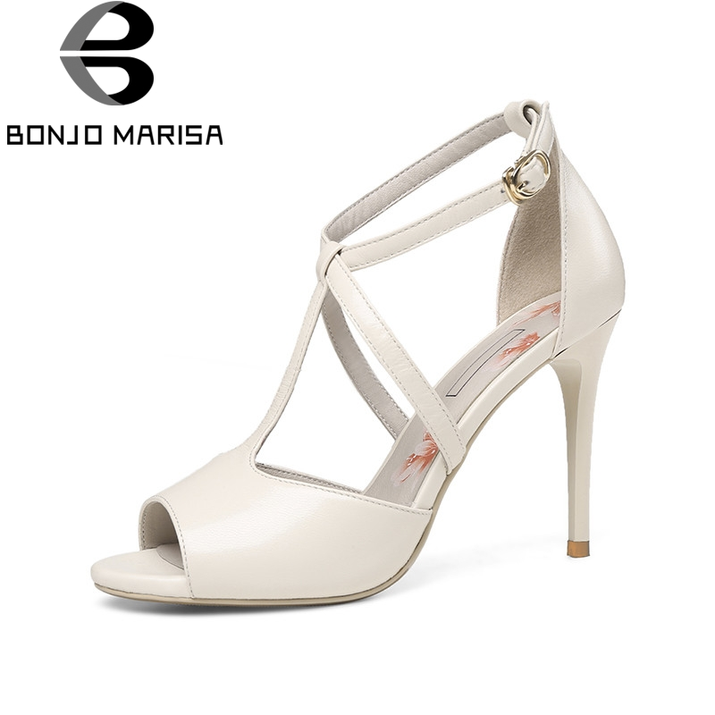 BONJOMARISA 2018 Summer Elegant Kid Leather Women T-strap Sandals Super High Thin Heels Shoes Woman Big Size 33-40 Leisure Shoe new arrival black brown leather summer ankle strappy women sandals t strap high thin heels sexy party platfrom shoes woman