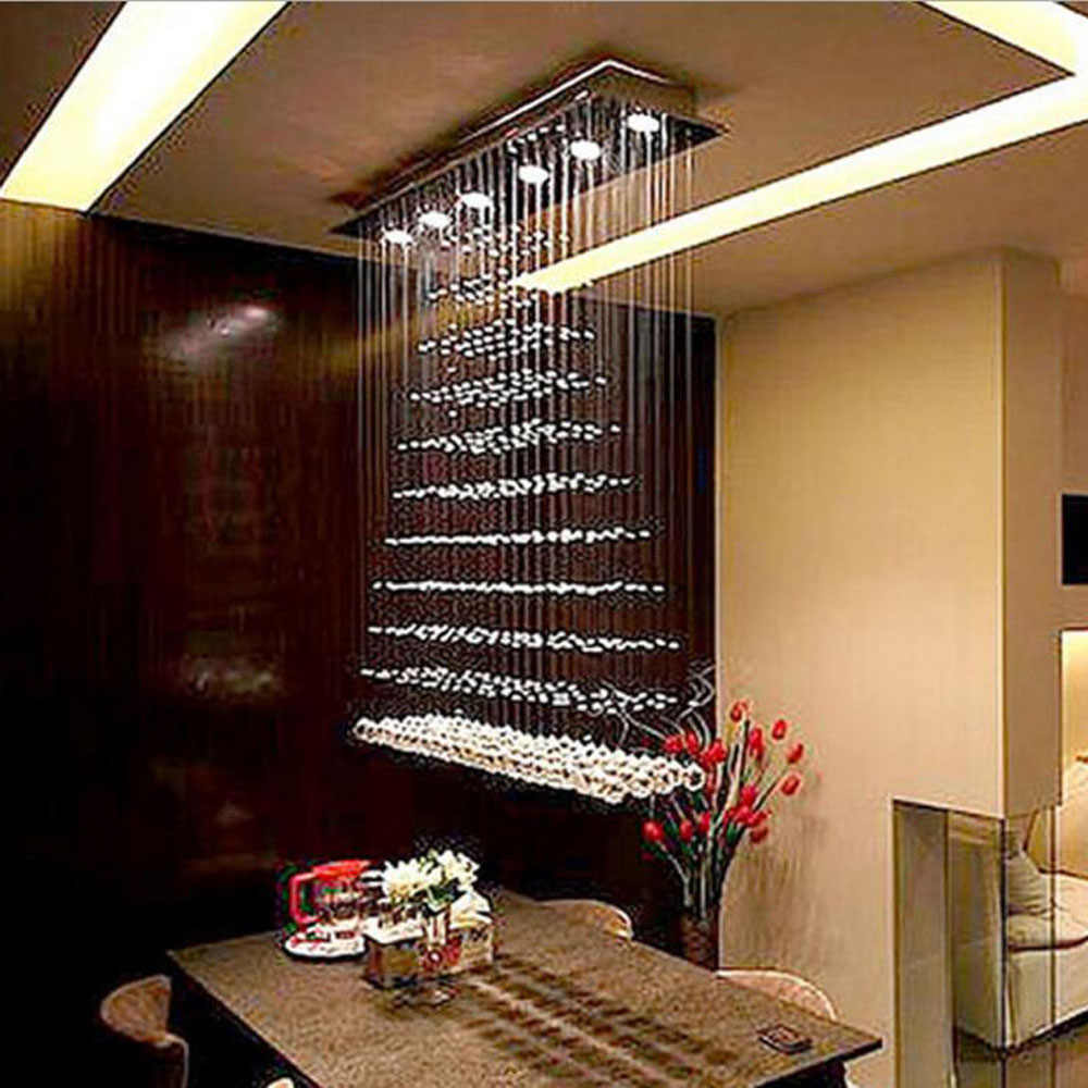 Modern LED Ceiling Light Curtain Partition Living Room Light Pyramid  Rectangular Dining Room Restaurant Chandelier led lamps