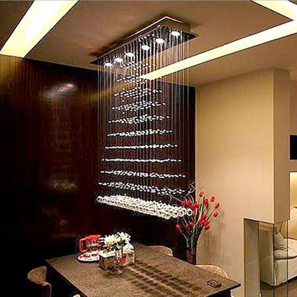 Plafond moderne à LEDs lumière rideau cloison salon lumière pyramide rectangulaire salle à manger Restaurant lustre lampes LED