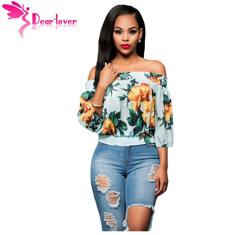 8eb978639d Dear Lover 2017 Autumn Female T-shirts Chiffon Tube Tees Sexy Fashion Half  Sleeve Light Blue Floral Off-the-shoulder Top LC25875