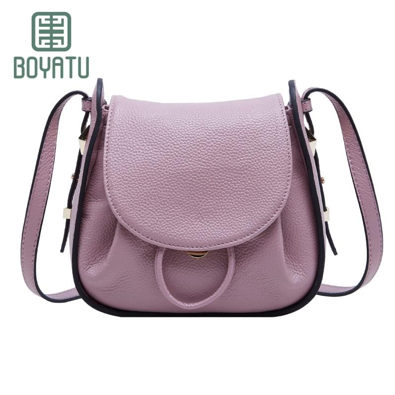 BOYATU Female Genuine Leather Crossbody Shoulder Bags For Women Simple Fashion Messenger Bag Luxury Handbags Women Bags 2017 New
