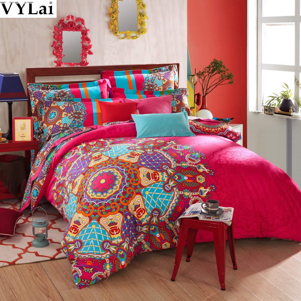 Luxury Red 5pcs Boho Bedding Sets Peach Brushed Fabric
