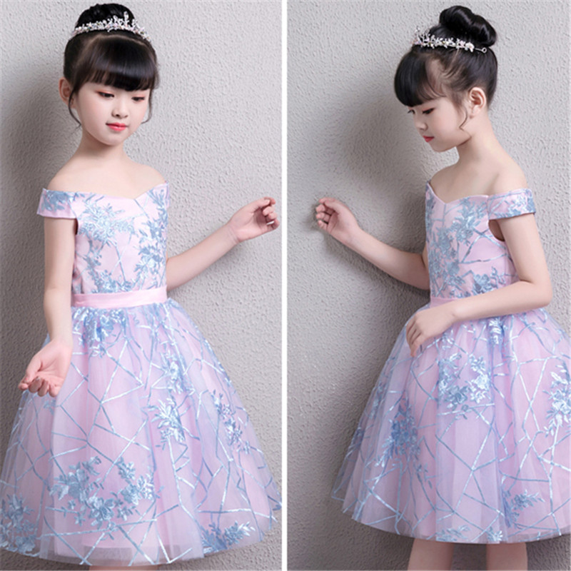Children Girls Luxury Shoulderless Birthday Wedding Party Dress Kids Baby Holiday Party Model Show Piano Costume Flowers Dress music note party swing dress