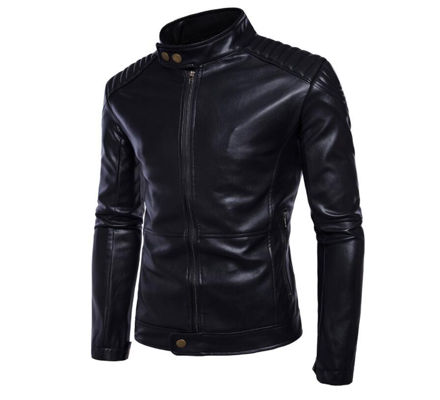 Vestes en cuir pour hommes, veste en cuir pour hommes manteau en cuir pour moto mince vêtements pour hommes stage personnalisé mode street noir - 2