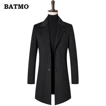 BATMO 2018 new arrival winter high quality Double side wool trench coat men,men's black wool jackets,plus-size M-3XL 1810hs