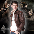 High Quality New Resident Evil 4 Leon Kennedy Leather Jacket Cosplay Costume Faux Fur Coat for Men Plus Size S-4XL