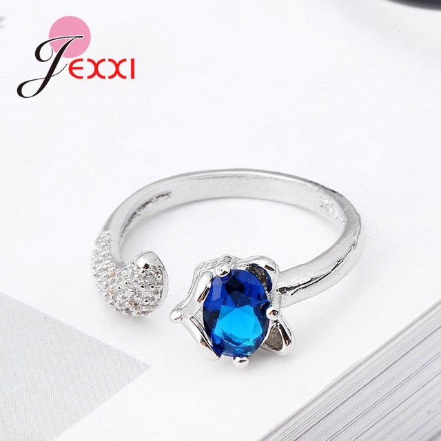 Fashion Fox Open Ring With shiny CZ Charm Sterling Silver Women Appointment Jewelry Romantic Gift