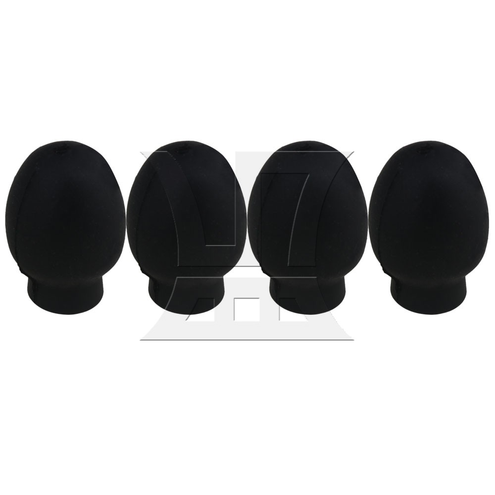 Yibuy 0.8x0.6inch Black Rubber Oval Drumstick Practice Silent Tips Percussion Accessory Pack Of 4