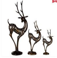 Old antique Arts & Crafts pure copper animal head real pure Brass statues crafts sika deer decoration furniture day gift