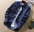 Plus Size 3XL Men Casual Shirt  100% Cotton  New Fashion 2016 Spring Mens Jeans Shirts Breathable Clothes