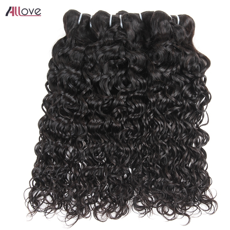 Allove Malaysian Water Wave Bundles With Closure Free Part Swiss Lace Closure 3 Pcs Remy Human Hair Bundles With Closure