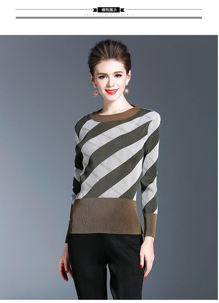 shirt Nouveau À Kaki Fold Gratuite Livraison Femmes Manches Mince En Longues Stock Sexy Rayé T Mode ztYRwqU