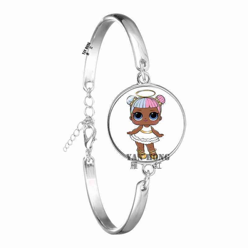 2019.  Hot-selling beautiful doll Glass Bracelet 18mm glass dome cartoon jewelry round glass bracelet children's CHARM GIFT