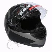 New Dot Star Matte Black Dual Visor Full Face Motorcycle Helmet+Sun Shield S XXL
