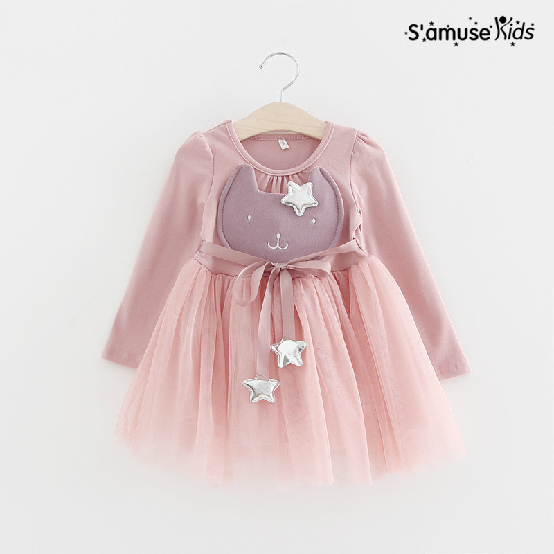 Baby Girls Cartoon Dress 2017 Spring Fashion Sweet Rabbit Star With Belt Mesh Dresses Clothing For