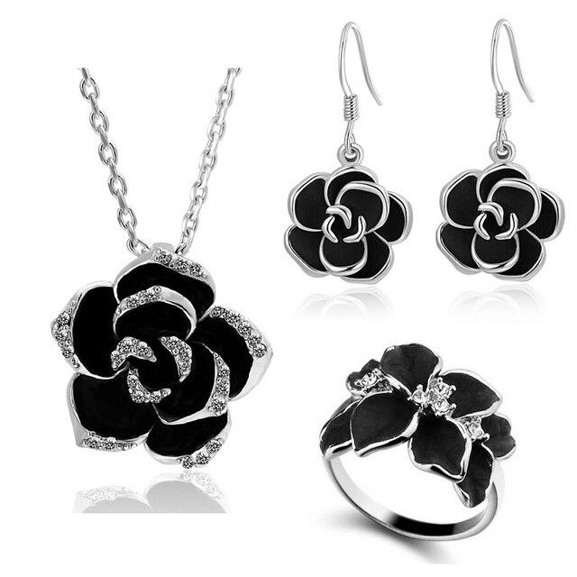 Купить новые классические черные колье в виде цветка розы серьги кольца
