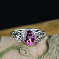 Guaranteed 925 Sterling Silver Wedding Rings Pink Topaz Natural Stone Gifts For Women Elegant Fine Jewelry Bague