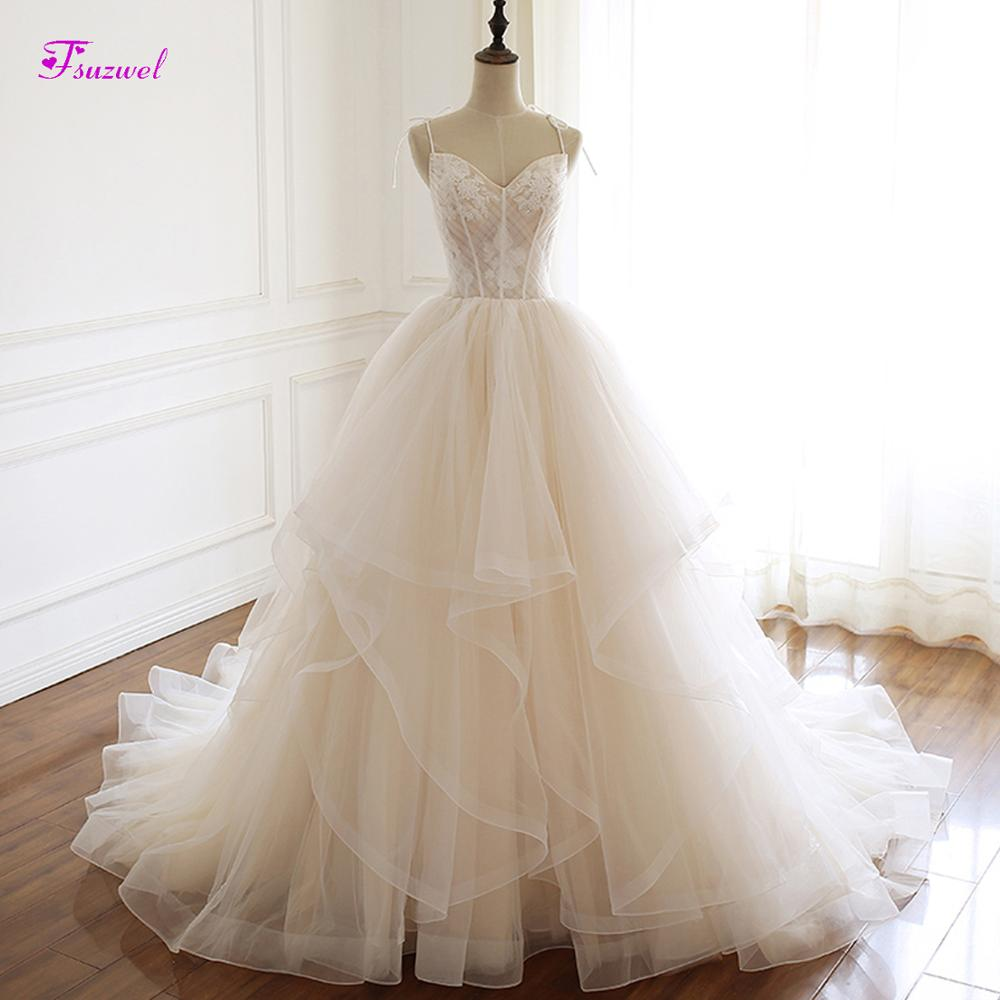 Fsuzwel Sexy Sweetheart Neck Lace Up A-Line Wedding Dresses 2019 Graceful Appliques Pleated Princess Bride Gown Vestido de Noiva