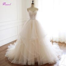 Fsuzwel 섹시한 연인의 목 레이스 업 a 라인 웨딩 드레스 2020 우아한 아플리케 Pleated Princess Bride Gown Vestido de Noiva