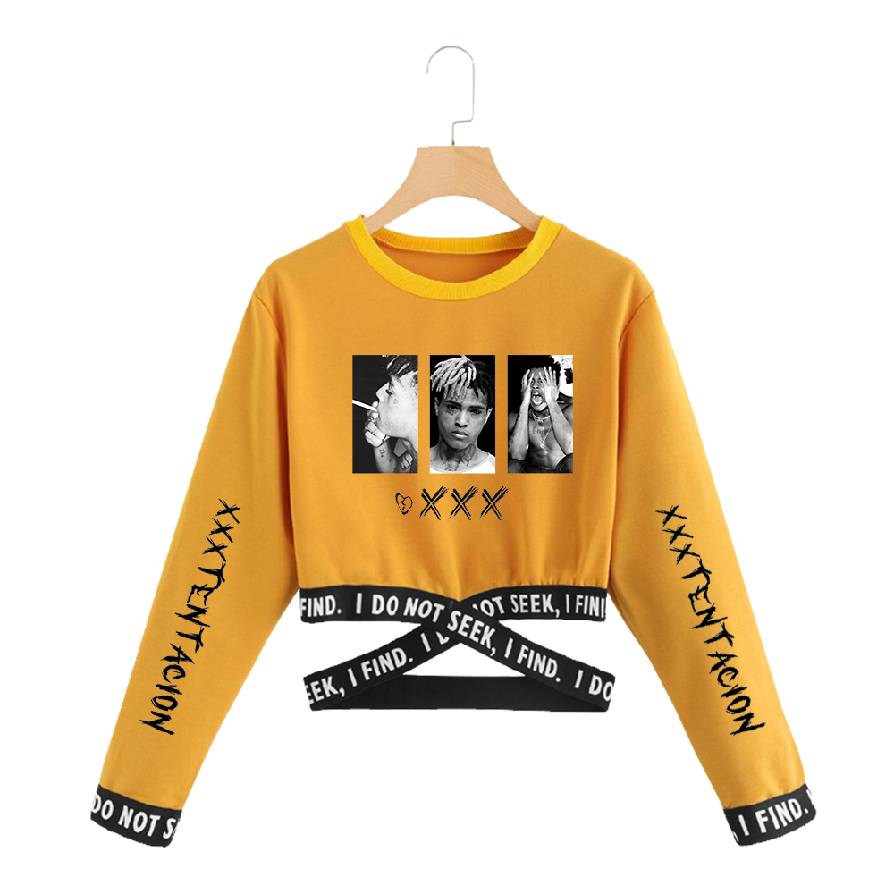 Xxxtentacion Cropped Sweatshirt Women Harajuku Long Sleeve Crop Top Sweatshirt 2019 Korean Clothes Instagram Style Dropshipping