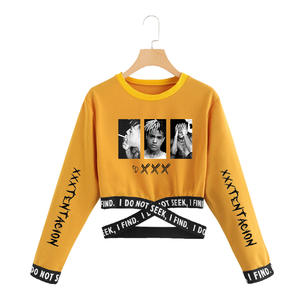 Instagram Clothing Crop-Top T-Shirt Long-Sleeve Harajuku Korean-Style Off-Shoulder Xxxtentacion