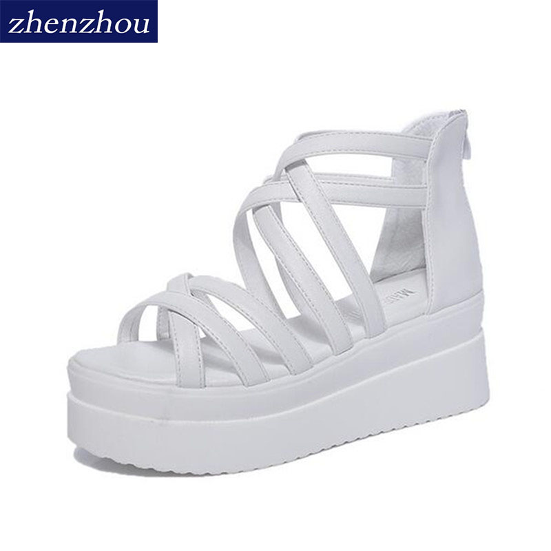 Women Sandals 2018 summer cross dewy toe women sandals sponge base platform height with the Roman sandals white sandals