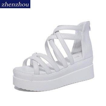 Free shipping 2017 summer cross dewy toe women sandals sponge base platform height with the Roman sandals white female римские сандали