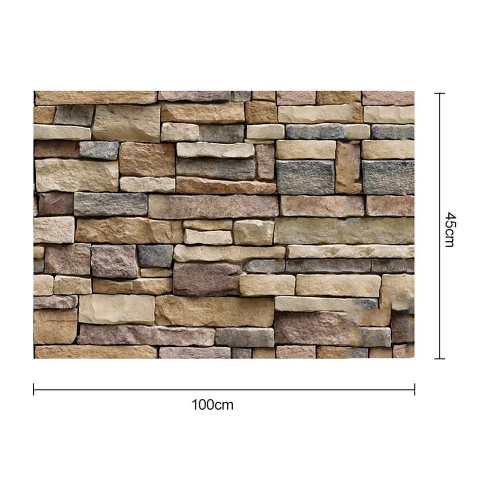 Купить с кэшбэком 45x100cm Wallpaper Decorative Wall Decals Brick Stone Rustic Self-adhesive Wall Sticker Roll for Bedroom Kitchen Home Decor